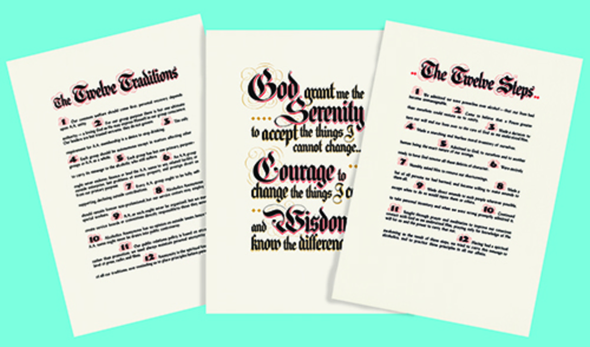 Set-Twelve Steps.Twelve Traditions and Serenity Prayer parchment