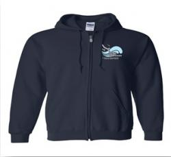 """Dive Into Action"" logo Zip-Up Hoodie, Size: Small"